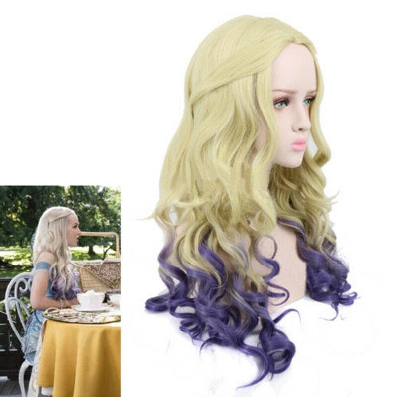 Mal Descendants 2Long Curly Light Gold Gradient Purple Cosplay Anime Wig+Free Wig Cap