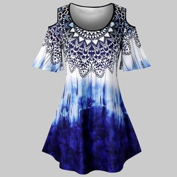 Plus Size Fashion Tie-dye Print Blouse Cold Shoulder Tunic Tops Casual Summer Ladies Female Women Short Sleeve Blouse