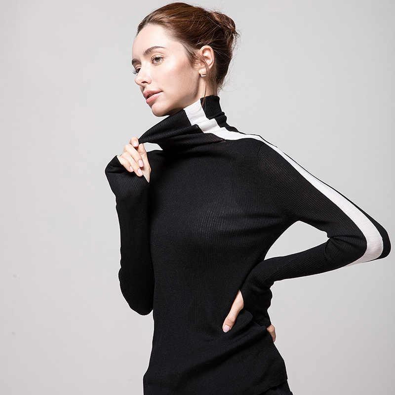 Vrouwen Wol Trui 100% Merino Wol Coltrui Voor Vrouwen Strakke Ribben Gebreide Trui 2019 Herfst Winter Knitwears