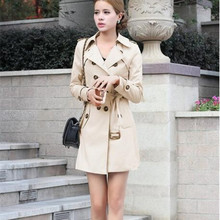 Women 1PC Trench Coat For Women Double Breasted Slim Fit Long Spring Coat Casaco