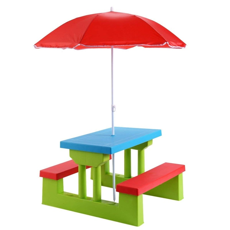 Kids Picnic Folding Table And Bench With Umbrella High Quality Portable Lightweight Folds Down Kids Table And Bench Set OP2995