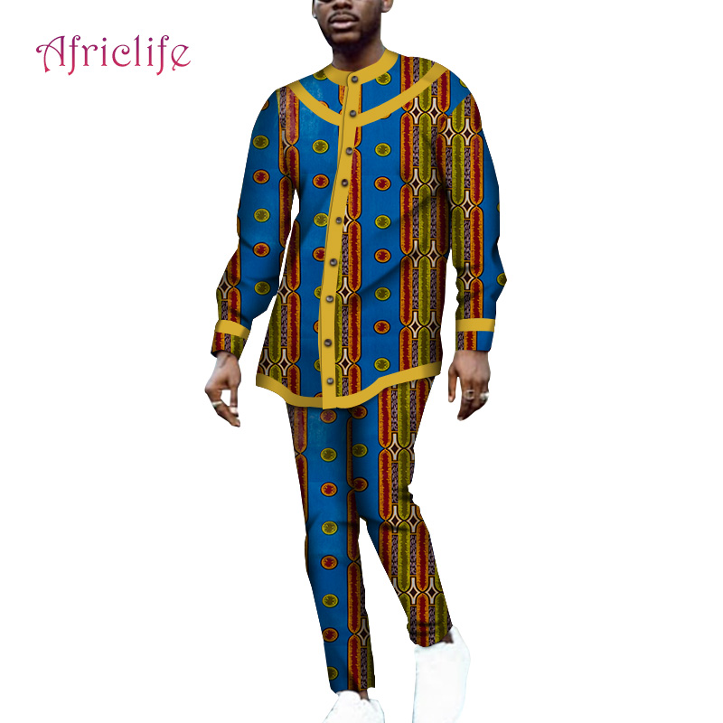 WYN1064 Two Pcs Sets Bazin Riche Pattern Men Clothing Long Sleeve Shirt And Slim Long Pant African Wax Print Cotton Men Dresses