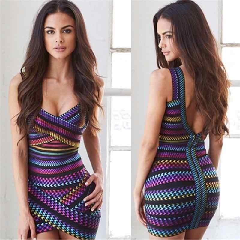 Bandage Dress Factory 2019 New Multicolor Sleeveless Strap Chic Bodycon Sexy Women Night Club Summer Dress Hot Sale Best Quality