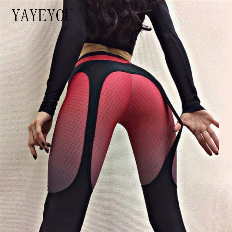 YAYEYOU 2020 Spring Summer Women Sexy Running Gym Pants High Waist Workout Leggings Casual Push Up Female Leggings Red Black