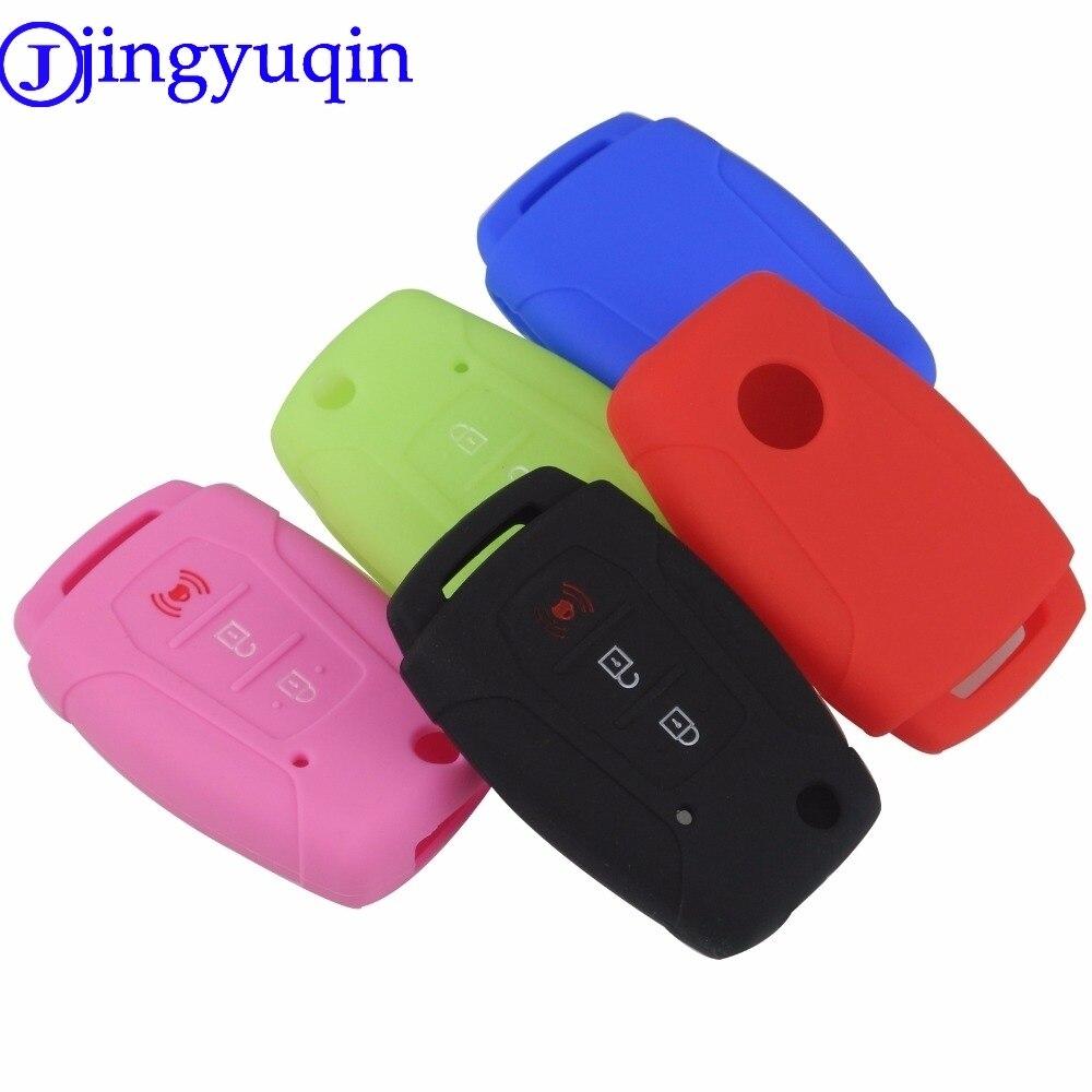 jingyuqin Silicone Flip Car Key Case Cover Holder For Ssangyong 2015 2016 Tivoli Rexton Korando C 3 Button FOB Key(China)