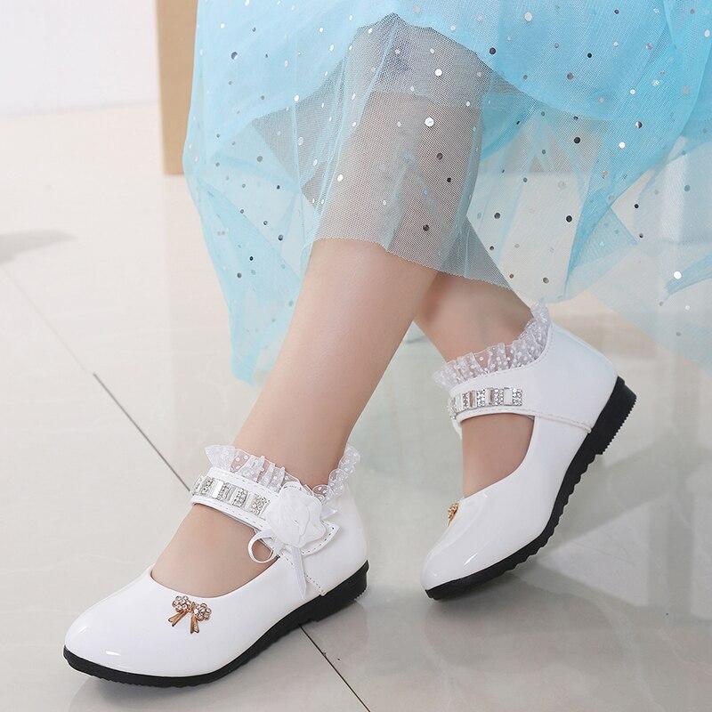 2020 New Children Elegant Princess PU Leather Sandals Kids Girls Wedding Dress Party Beaded Shoes For Girls 4