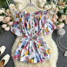 SINGRAIN Women Slash Neck Print Short Rompers Hollow High waist Casual Loose Rompers Boho Vacation Beach Wide Leg Pants Rompers cheap Polyester Playsuits Jumpsuits Rompers JERSEY Beach Style Floral Ages 18-35 Years Old Hollow Out