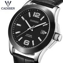 CADISEN 高級メンズ自動機械式時計レザー腕時計自動ビジネスレジャー 5ATM 防水発光 C1009