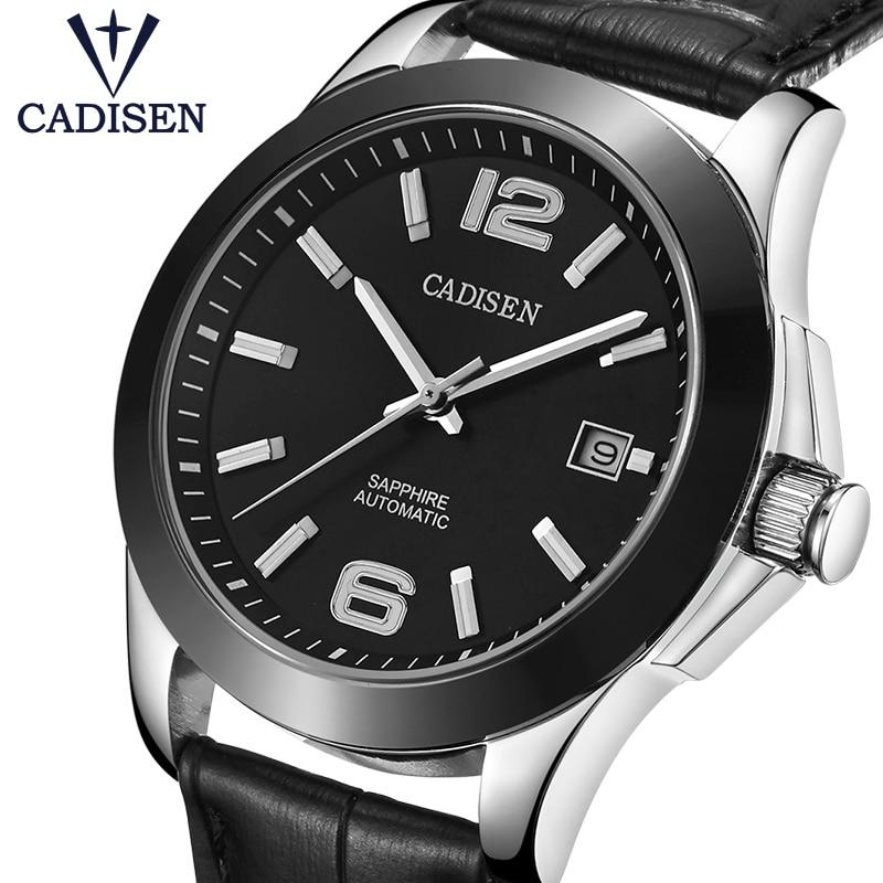 CADISEN Luxury Men's Automatic Mechanical Watch Military Leather Automatic Watch Business Leisure 5ATM Waterproof Luminous C1009