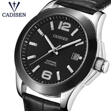 CADISEN reloj mecánico automático de lujo para hombre, reloj de cuero automático militar, para negocios y ocio, 5atm, resistente al agua, luminoso C1009