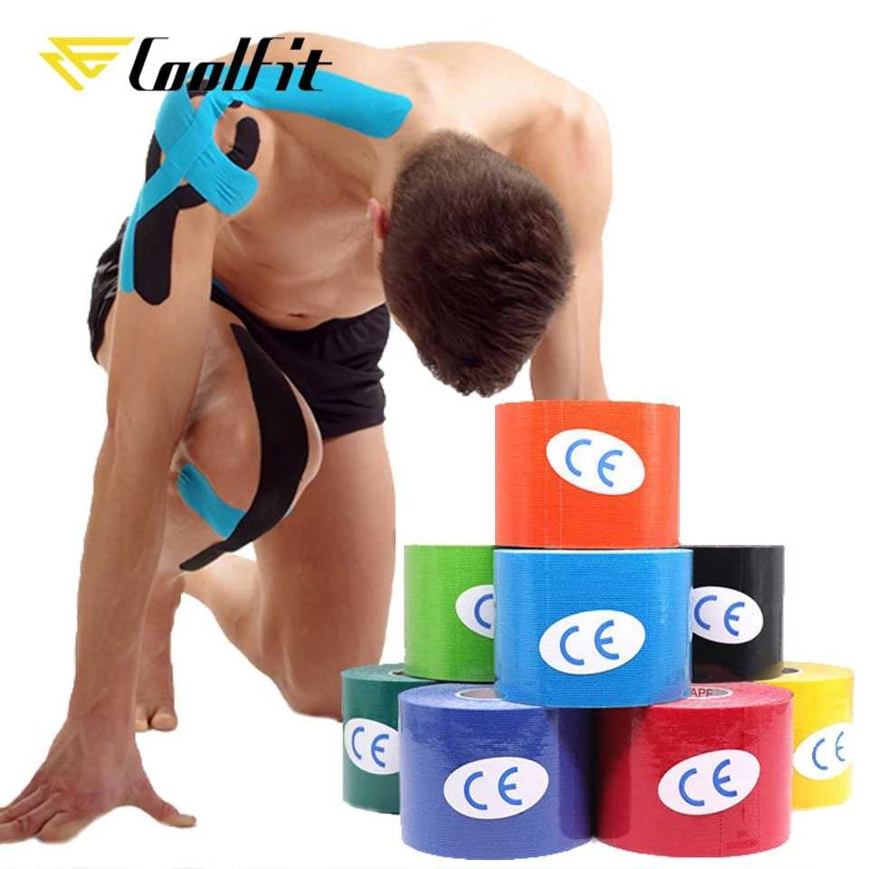 CoolFit 5 Größe Kinesiologie Tape Athletisch Recovery Selbst Haftende Wrap Taping Medical Muscle Pain Relief Knie Pads Protector