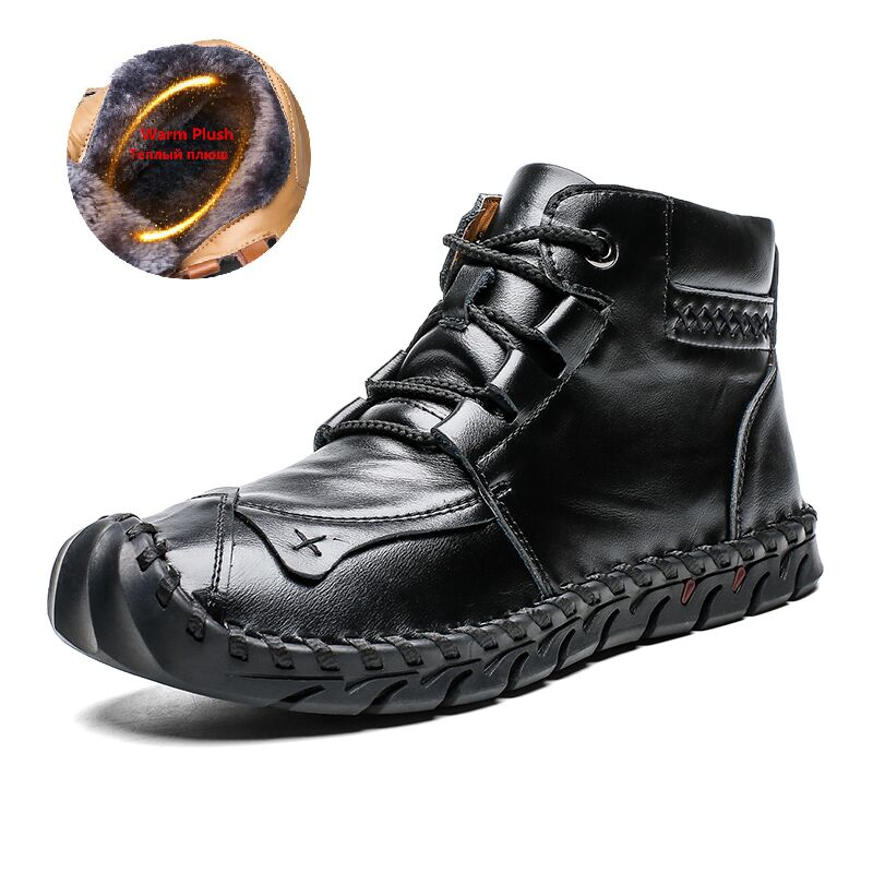 High Quality Leather Autumn Winter Men Boots Warm Plush Snow Boots Outdoor Fur Motorcycle Boots Ankle Boots Men's Shoes Size 48 2