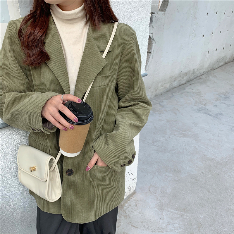 HziriP Single Breasted Retro Thick Corduroy Blazer Long Sleeve Office Lady Blazer 2020 Women Outerwear Loose Suit Jacket Coats