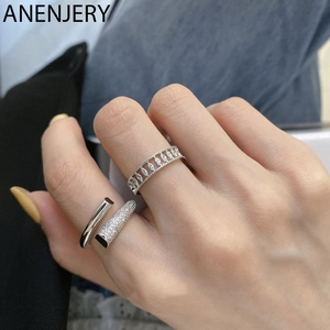 ANENJERY Glittering Cubic Zircon Geometric Finger Rings for Women Minimalist Elegant Party Silver Color Rings Jewelry S-R896