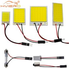 Promotion 1Pcs White T10 24 Smd Cob Led Panel Car Auto Interior Reading Map Lamp Bulb Light Dome Festoon BA9S 3Adapter DC12v car led dc12v big promotion t10 24 smd cob led panel super white car auto interior reading map lamp bulb light car light source