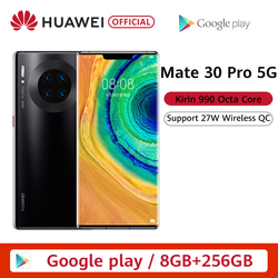 Перейти на Алиэкспресс и купить original huawei mate 30 pro 5g smartphone kirin990 5g 40mp triple cameras 32mp front camera 6.53'' full screen 27w wireless qc