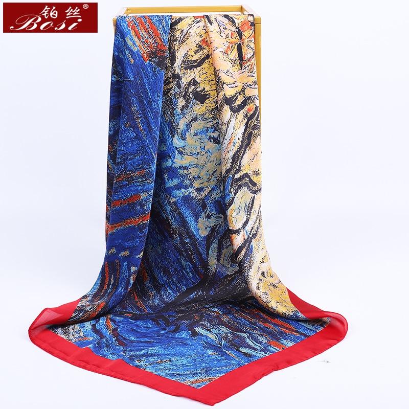 BOSI Fashion Square Head Hijab Print Pink Silk Satin Scarf For Women 90*90cm Shawl Ladies Print Bandana Luxury Brand Scarves