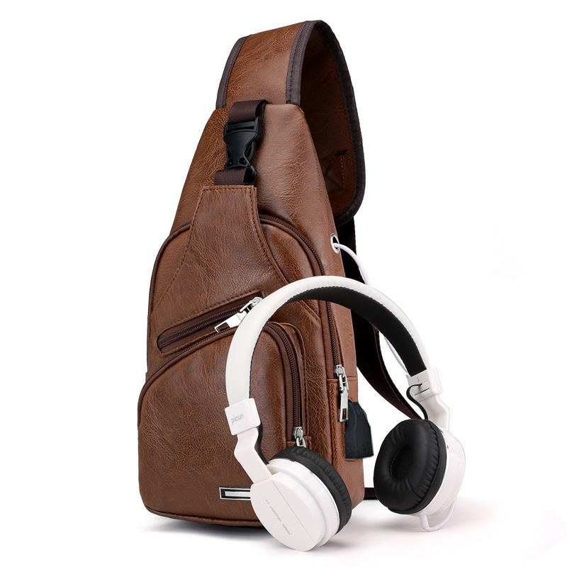 Special Offer Cross Border Men Chest Bag PU Leather Waterproof Chest Bag USB Charging Headphone Jack Chest Pack Wish