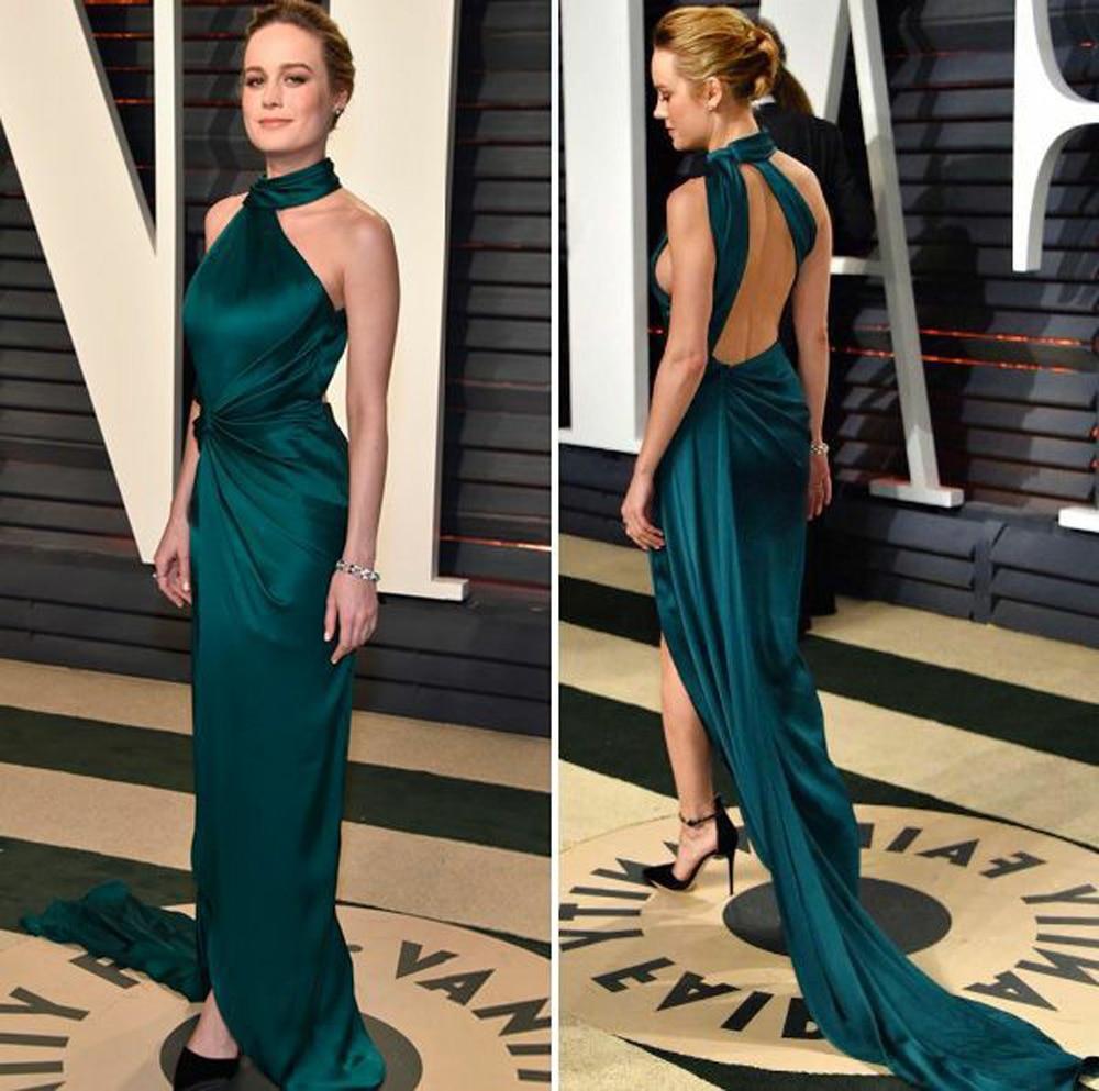 Sexy Long Halter Dark Green Celebrity Dresses Mermaid Robe De Soiree Floor Length Open Back Side Slit Formal Dresses for Women