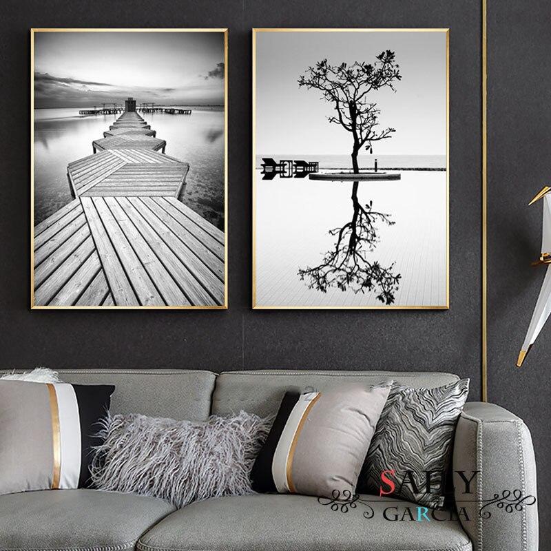 Скандинавский стиль репродукции, настенное искусство черно белый плакат с изображением дерева минималистичный мост живопись холст модульная Пейзаж Картины домашний декор|Рисование и каллиграфия| | - AliExpress