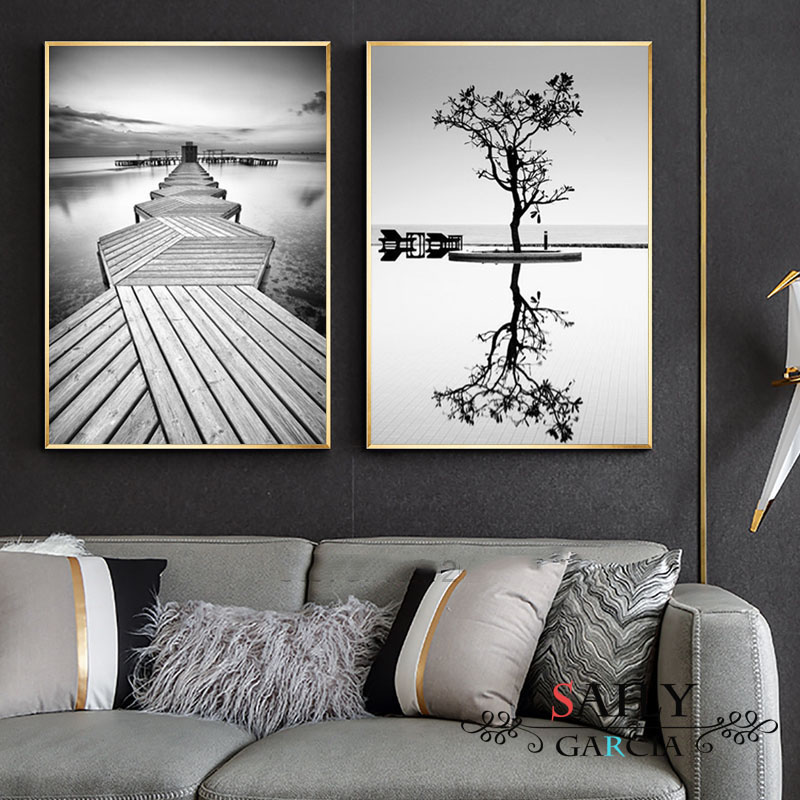 >Nordic Style Prints Wall Art Black And <font><b>White</b></font> Tree Poster <font><b>Minimalist</b></font> Bridge Painting Canvas Modular Landscape Pictures Home Decor