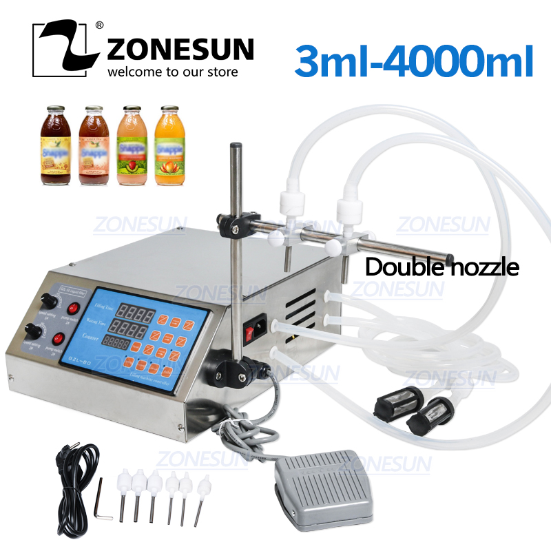 ZONESUN Electric Digital Control Pump Bottle Liquid Filling Machine Small  0.5-4000ml For Perfume Water Juice Oil Alcohol