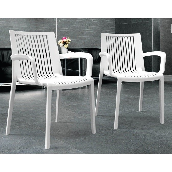Armchair MALDIVES Stackable White Polypropylene