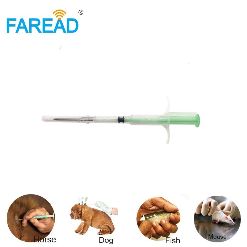 X10pcs Animal RFID Glass Tag Transponder With Applicator 1.4*8mm ISO11784/785 FDX-B 134.2KHz Sterilization Microchip For Pets