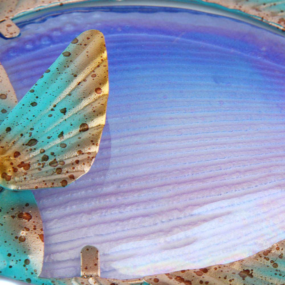 Decoração para casa metal peixe obras de arte para decoração do jardim ao ar livre animales jardin com cor de vidro para estátuas e esculturas de jardim
