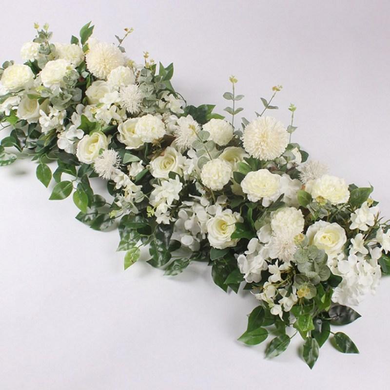 Fleur de soie avec Base en mousse fleur artificielle rangée hortensia Rose pour décoration de porte route de mariage cité fleurs fond de mur - 3