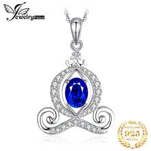 JPalace Carriage Created Sapphire Pendant Necklace 925 Sterling Silver Gemstones Choker Statement Women Without Chain