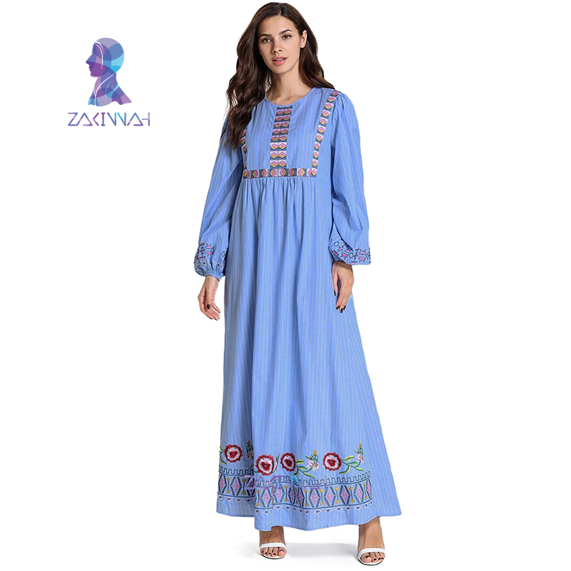 9019 Plus Size Costume Women Striped Embroidered Muslim Dress Dubai Turkey Caftan Kaftan Islamic Clothing For Women Djellaba