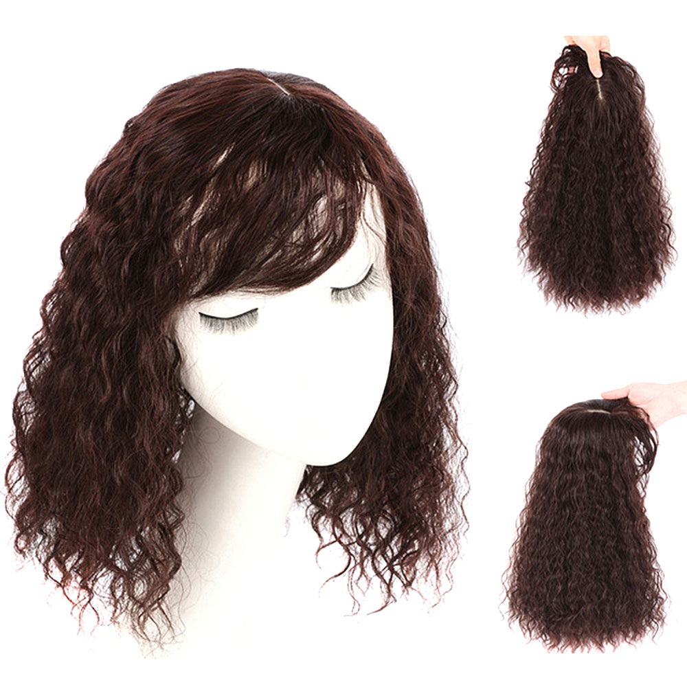 Salonchat Brazilian Corn Beard Intermediate Silk Base Hair Topper Toupee Hairpieces For Women Remy Human Toupee Hair For Women