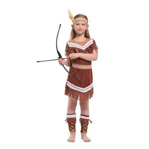 Image 1 - Kind Kinder Indische Prinzessin Kostüm für Mädchen Native Archer Huntress Kostüme Halloween Purim Karneval Party Phantasie Kleid