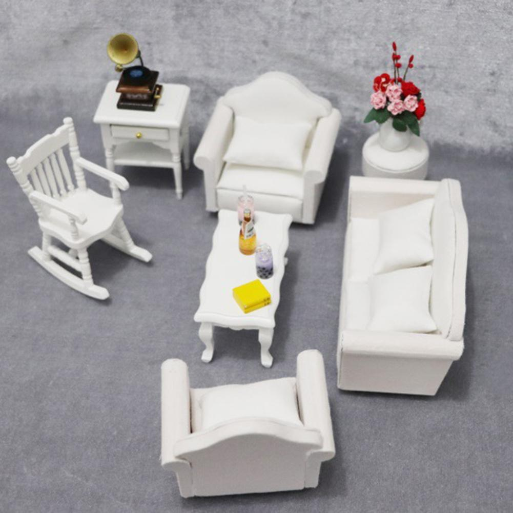 1:12 Doll House Sofa Armchair Pillow Miniature Living Room Accessory Furniture For Dolls Children 1Sofa+ 2 Armchairs+4 Pillows