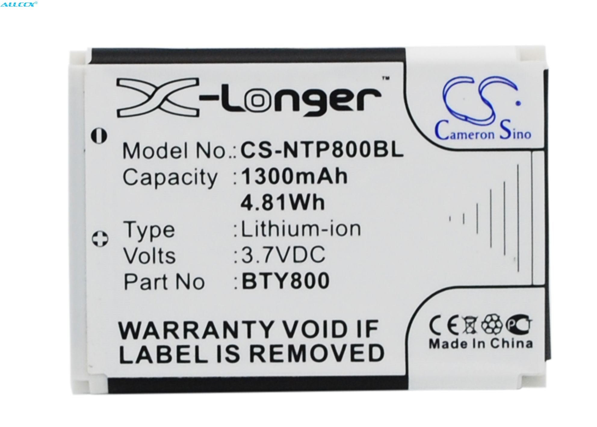 Cameron Sino 1300mAh Battery BTY800 for CipherLab 8000, 8200,8300,CPT-8300, For Newland NLS-PT800,NLS-PT850,NLS-PT850B,NLS-PT853(China)