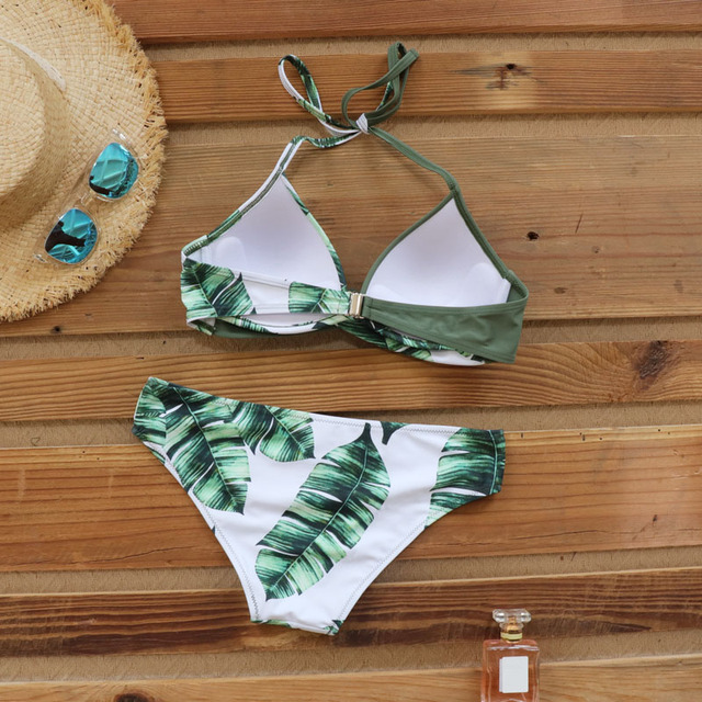 Riseado Sexy Push Up Bikinis Set Swimwear Women Swimsuits Bathing Suit Women Halter biquini Leaf Print