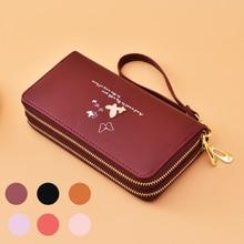 Women's Long Fashion Wristlet  Clutch Bag Cartoon Butterfly Double Zipper Large Capacity Mobile Phone Bag  Luxury Wallet  Purses