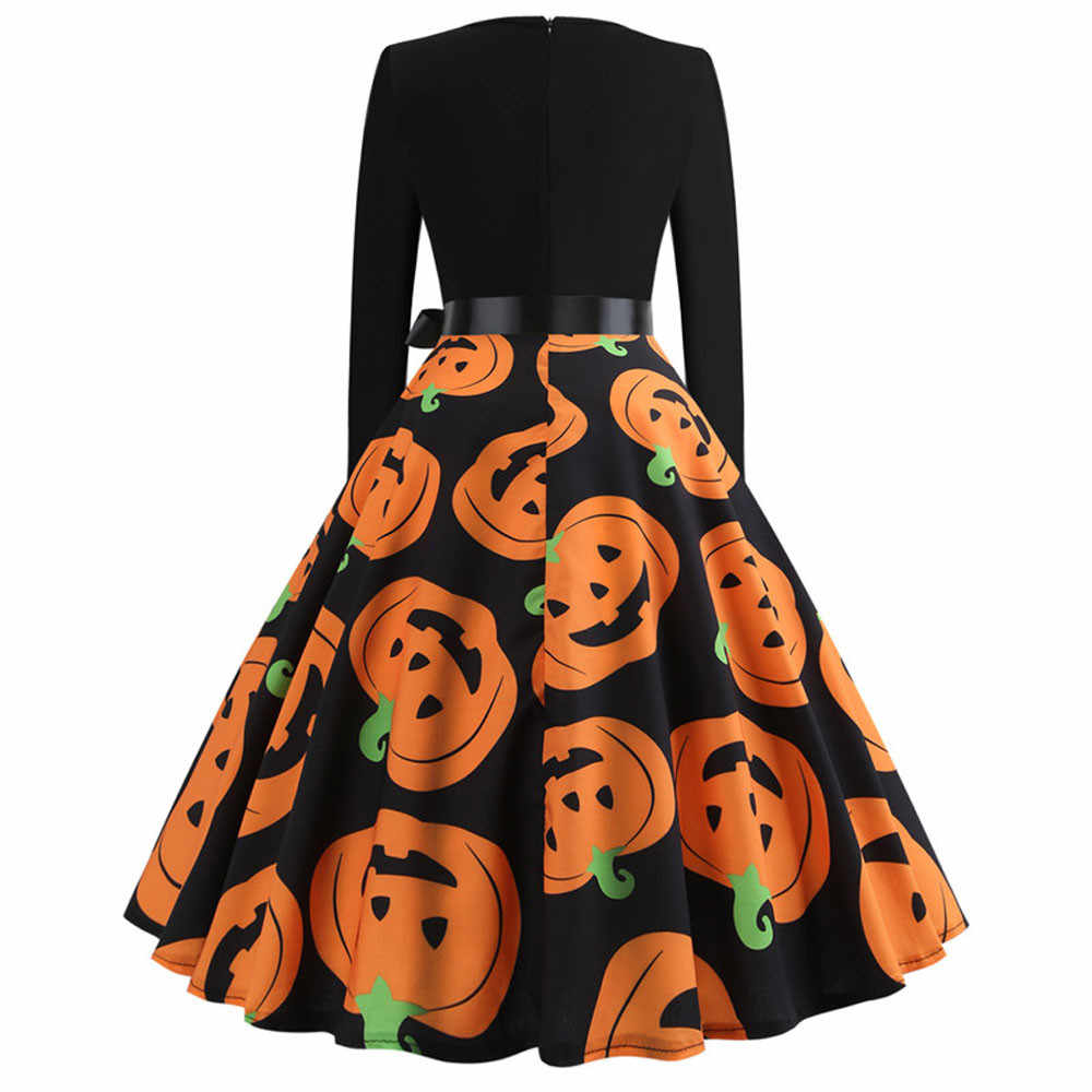 Halloween Pumpkin Imprimir Patchwork Midi Vestido Vintage Mulheres Outono Inverno Vestidos de Manga Longa Noite Elegante Vestido de Festa F819