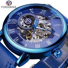 купить Forsining Full Blue Watches Men Skeleton Mechanical Watch Hand Wind Genuine Leather Strap Classic Business Wristwatch Clock Gift по цене 1171.71 рублей