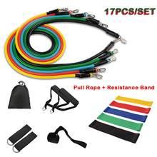 17 pçs puxar corda exercícios de fitness bandas de resistência definir bandas de borracha de treinamento ginásio equipamentos de fitness elástico para esportes