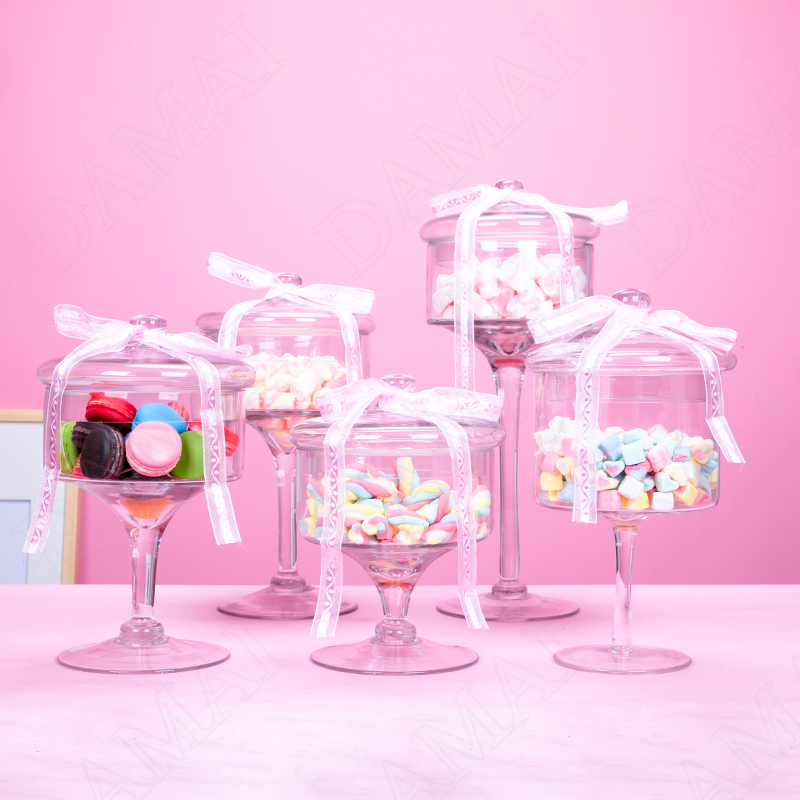 Crystal Glass Jars with Lid Transparent Candy Cookie Stash Jar Snacks Sugar Dessert Tanks Offee Table Food Container Storage Box