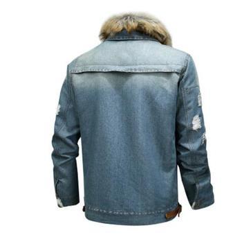 Mountainskin men's thick denim jacket winter autumn male fur collar velvet coat male fashion windproof Denim coat S ~ 6XL