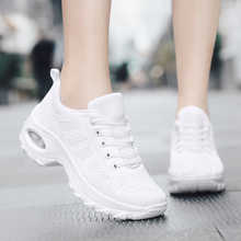 Plus Size 35-42 Fly Knit Fashion Sneakers Women Sport Casual Breathable Shoes Lace Up Square Heel White XU065