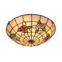Mediterranean Style Coloured Glass Lampshade Ceiling Lamp Tiffanylamp Fixture Light LED Bulbs