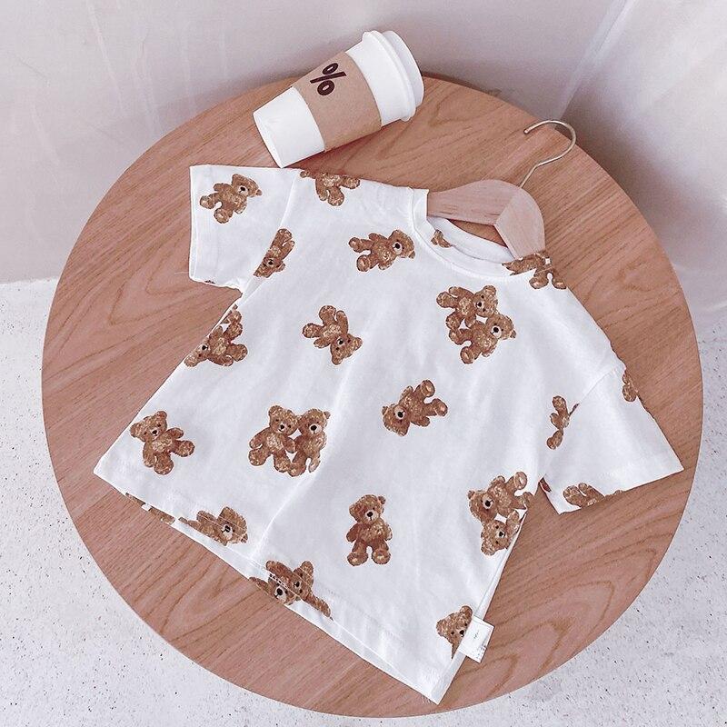 592.0¥ 58% OFF MILANCEL 2021 Summer New Kids Clothes Korean Bear Print T shirt Short Sleeve Cotton ...