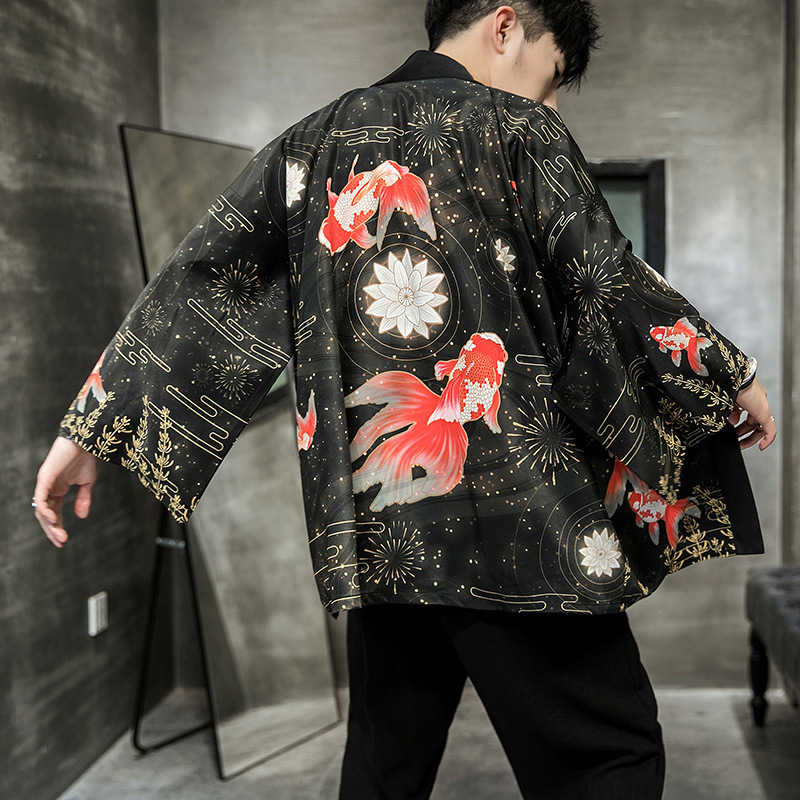 Men Japan Style Chinese Print Coats Yukata Cardigan Vintage Harajuku Blouse Japanese Traditional Kimono Cosplay Fashion Jackets