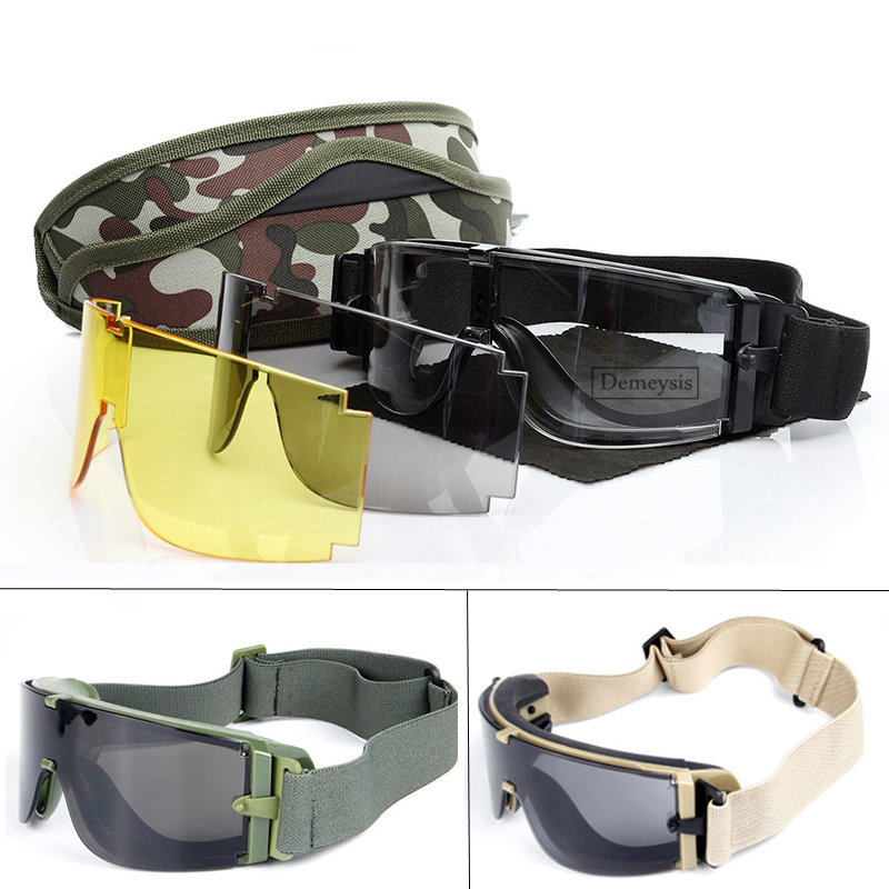 Military Tactical Goggles Men Hunting Airsoft Paintball Protective Eyewear CS Game Army Outdoor Windproof Desert 3 Lens Glasses