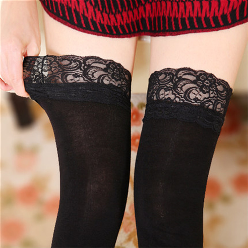 Ladies Lace Top Non-slip Thigh High Stockings 80D Silicone Over Knee Women's Stockings Large Size Elastic Sexy Warm Stockings