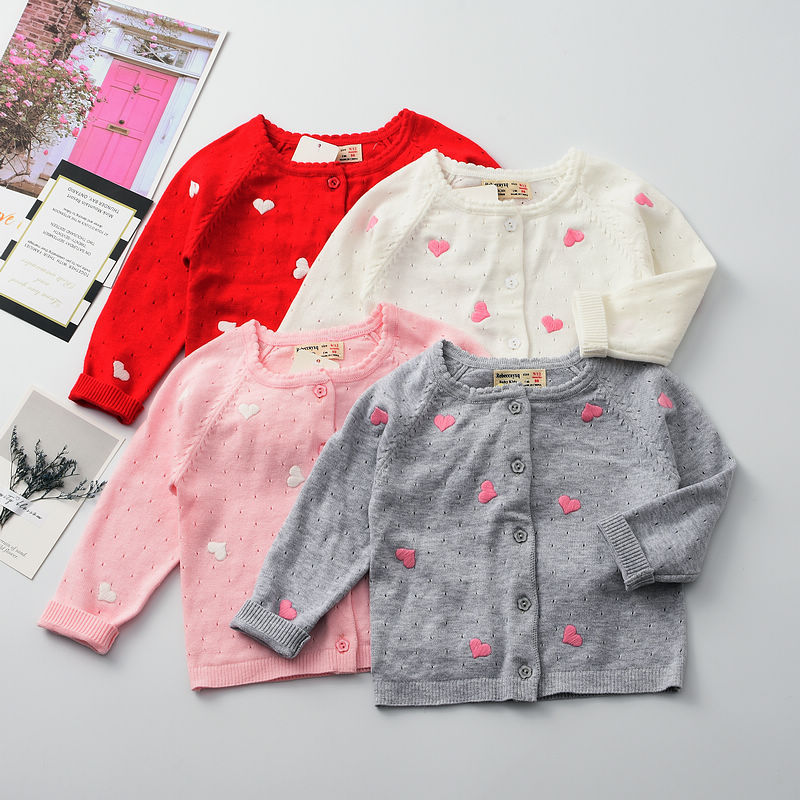 19 Years Spring New Style Baby Girls Childrenswear Thin Knitted Doll Outside Pullover GIRL'S Cardigan Tops